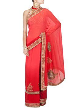 Coral red embroidered sari with printed blouse BY JJ VALAYA. Shop the designer now at www.perniaspopups... #perniaspopupshop #jjvalaya #anarkalis #ethnic #designer #stunning #fashion #amazing #fabulous #indian #musthave #happyshopping
