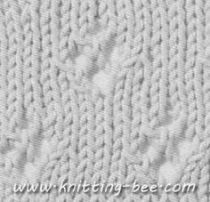 Free lace knitting stitch instructions to create the Diamond Eyelet pattern. Abbreviations: k= knit p= purl yo = yarn over k2tog = knit two stitches together ssk = slip, slip, knit slipped stitches tog. A decrease Cast on multiple of 8 Row 1: knit Row 2 and all even rows: purl Row 3 :k3, * yo, ssk, k6; rep. from…