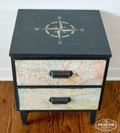Stencil Furniture Makeovers with a Coastal, Nautical & Ocean Theme Nightstand Makeover with Compass Grey Bedroom Furniture, Bedroom Furniture Makeover, Refurbished Furniture, Shabby Chic Furniture, Painted Furniture, Men Bedroom, Bedroom Bed, Upcycled Furniture, Nautical Bedroom