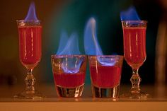 10 more drink recipes you can light on fire | Matador Network  Flaming Leprechaun     1/3 oz Melon liqueur   1/3 oz Irish Cream   1/3 oz 151 Rum     This drink is great for St. Patrick's Day. Add ingredients to a shot glass with the 151 Rum on top and ignite. Serve with a straw.