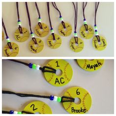 Easy DIY Softball team gift necklaces. Fender washers were 19¢ a piece at Home Depot. Use spray paint (both sides), sharpees and paint pens to decorate. Put spray clear varnish after a few coats of yellow paint...then personalize. Use a smaller washer to trace red seams. Beads are team colors. Little girls loved them. Going to do basketballs next season.