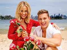 Home & Away on-screen couple Raechelle Banno and Scott Lee at Milk Beach, Vaucluse ahead of Valentines Day.