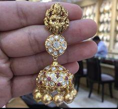 Gold Designs, Gold Earrings Designs, Diamond Jewelry, Gold Jewelry, Jewelery, India Jewelry, Antique Jewellery, Ear Rings, Designer Earrings