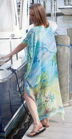 Silk Tunic Caftan Beach Dress Mermaid Dress Kaftan by SilkWonder