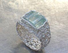#ecofirstart.com          #ring                     #Aquamarine #Ring #Fine #Silver #Wire #Crochet #Ring                          Aquamarine Ring Fine Silver Wire Crochet Ring                                 http://www.seapai.com/product.aspx?PID=1268958