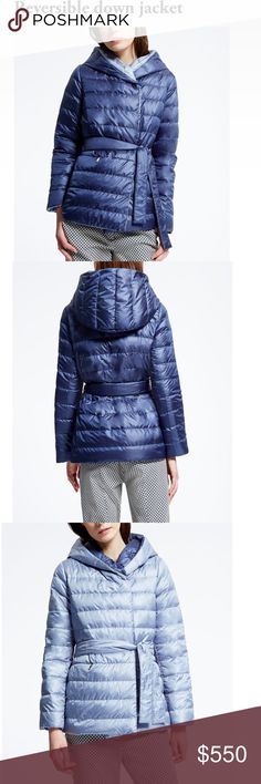 Max Mara Reversible down jacket, Size 2. Reversible quilted down jacket in iridescent drop-proof cloth with hood and side pockets with invisible zip and metal zipper pull fastening. Fastens with buttons and two coordinating belts. Product name:FINNICI Product code:5486066906005 MaxMara Jackets & Coats Puffers