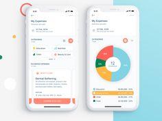 Expense Tracker App by Anastasiia Naumets for eleken on Dribbble Ui Design Mobile, Design Ios, Dashboard Design, Desktop Design, Graphic Design, Interface Design, Flat Design, User Interface, Finance Tracker