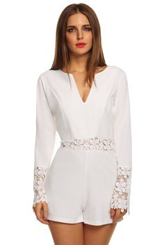 Stylish Lady Women's Casual Sexy Lace V-neck Long Sleeve Hollow Out Shorts Jumpsuit Romper