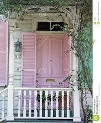Pink door with shutters & White trim