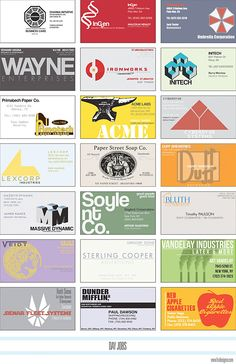 Business Cards for Fictional Companies