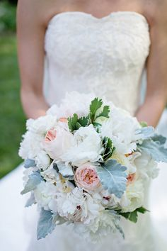 © The Beautiful Mess Photography, Rebecca and Will, Charlotte, NC, Flowers: The Blossom Shop, Ceremony: The Episcopal Church of the Holy Comforter, Gown: Ladies of Lineage, Hall & Webb Event Design, Charlotte Wedding Planner - Bride Bouquet
