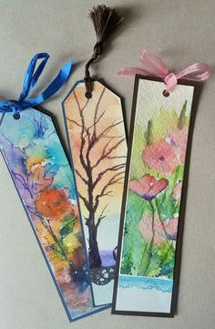 ideas for bookmark making in different styles - DIY Ideen&Projekte - Watercolor Creative Bookmarks, Diy Bookmarks, How To Make Bookmarks, Vintage Bookmarks, Watercolor Bookmarks, Watercolor And Ink, Book Crafts, Diy And Crafts, Paper Crafts