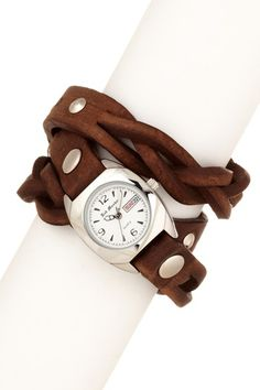Triple Wrap Watch with Leather Strap.