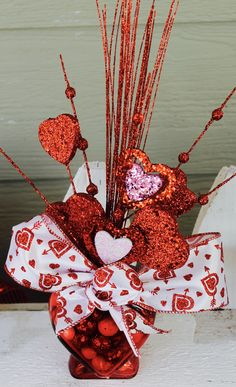 Valentine's Day Centerpiece, Valentine's Day,  Red, White, Hearts, Love, Home Decor, Party Decor, Table Decor, Valentines, Party, Gift by GlitterDazzleSparkle on Etsy