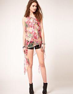 UNIF Slant Floral One Shoulder Dress