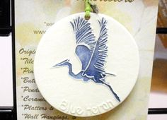 Great Blue Heron ORNAMENT plus free gift wrap by FaithAnnOriginals