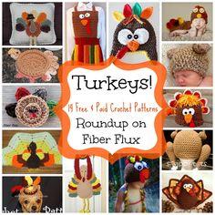 Crochet Thanksgiving turkey roundup: hats, home decor, apron, coasters