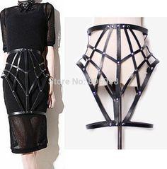 Black Halter Sexy Women Costumes Garter PU Suspender Funny Cross Leather bondage Harness Body Cage Bondag Skirt