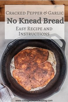 Cracked Pepper & Garlic Easy Artisan No-Knead Bread No Knead Garlic Bread. Easy Bread recipe that anyone can make, no baking experience required! Just a few ingredients and 5 minutes of prep time, and you're on your way to crusty, rustic, amazing bread! No Bake Desserts, Easy Desserts, Recipe Cover, No Knead Bread, Cracked Pepper, Easy Bread Recipes, Oven Cooking, Few Ingredients, Garlic Bread