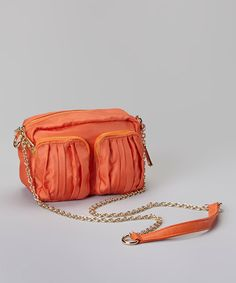 Take a look at this Orange Pocket Crossbody Bag by Tiffany & Fred on #zulily today! $55 !!