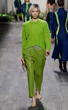 @roressclothes clothing ideas #women fashion green knit sweater, pants Vionnet Fall 2014