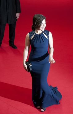 "America Ferrera stuns in a navy Badgley Mischka gown at the ""Cesar Chavez"" screening during the 2014 Berlin International Film Festival 