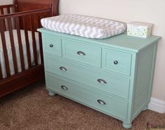 Free plans to build a DIY 5 drawer dresser/changing table with bead board detail. Changing Table Dresser, 5 Drawer Dresser, Tool Belt, Free Plans, Home Projects, Baby Room, Bead, Detail, House