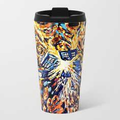 Exploded with Flame Blue phone Box METAL TRAVEL MUG #mug #metaltravelmug #metal #tardis #doctorwho #tardisdoctorwho #davidtennant #10thdoctor #vangogh #police #publiccallbox #starrynight