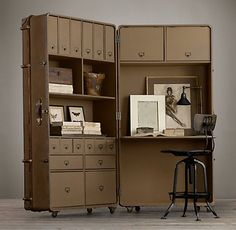 OMG - Office in a suitcase - and the aluminum one would be fabuous in an airstream - Trunks | Restoration Hardware