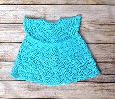 Mint crochet baby girl dress Light blue lace newsborn dress