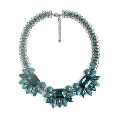 green statement necklace chunky flower