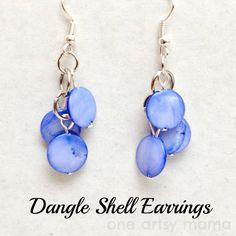 One Artsy Mama: Dangle Shell Earrings