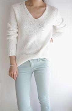 Skinny denim and a cozy sweater