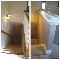 spindles by basement staris | ... stairs. Now, the sturdy half wall looks like it has always been there