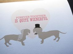 Thank you notes.    Dachshund Wedding Single Card by byMMcC on Etsy, $4.25