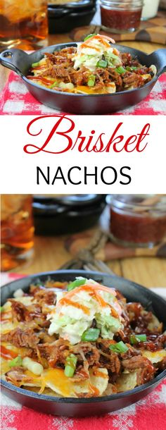 great movie snack with leftover brisket of roast meat from your sunday lunch , great for sport sunday, superbowl party grub too man food Brisket Nachos Recipe with barbecue sauce From Miss in the Kitchen Mexican Food Recipes, Beef Recipes, Cooking Recipes, Nacho Recipes, Grill Recipes, Healthy Recipes, Appetizer Recipes, Dinner Recipes, Appetizers
