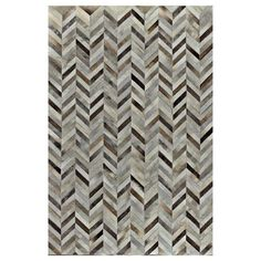 Amador Leather Rug in Gray. Beautiful geometric chevron pattern in shades of gray, neutral and brown.