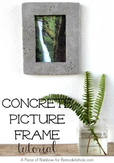 DIY Concrete Picture Frame | A Piece of Rainbow for Remodelaholic.com #diy #industrial