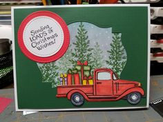 Stampendous Christmas truck stamp and die sets.  Love this one!