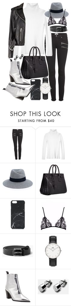 """Untitled #20105"" by florencia95 ❤ liked on Polyvore featuring Paige Denim, Les Copains, Maison Michel, Yves Saint Laurent, Native Union, MANGO, Daniel Wellington and Acne Studios"