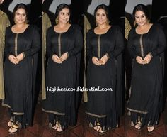 While at a recent do, Vidya kept it simple in a black and gold Shruti Bhandari suit. A small black bindi, Amrapali jewelry and matching black and gold sandals completed her look.