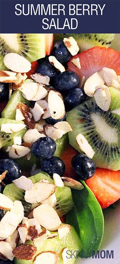Skinny Mom's Summer Berry Salad with fresh fruit and slivered almonds is a MUST HAVE SALAD! Refreshing, healthy, and nutrient dense!