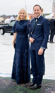 Princess Mette-Marit and Prince Haakon of Norway looked picture perfect in matching navy ensembles.<br><p>Photo: Patrick van Katwijk/Getty Images