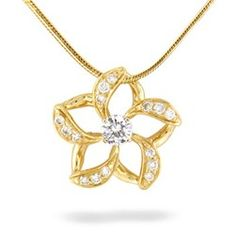 My wedding necklace except in white gold. Floating Plumeria Pendant