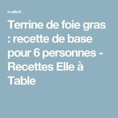 Terrine de foie gras : recette de base pour 6 personnes - Recettes Elle à Table