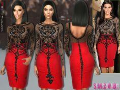 The Sims Resource: 168 – Kim Kardashian Party dress by sims2fanbg • Sims 4 Downloads