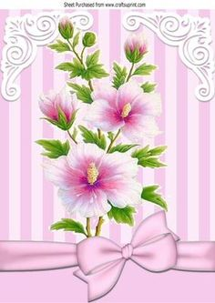 Pretty pink flowers with pink stripe and bow A4 on Craftsuprint - Add To Basket!