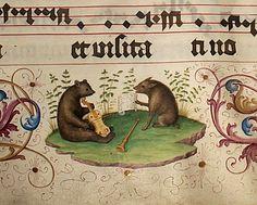 """Orso e cinghiale suonatori"", miniatura tratta dal 'Geese Book' (1504-1510), Pierpont Morgan Library, New York."