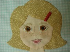 Bee In My Bonnet:  Paper Dolls quilt. Embroidery details of face.