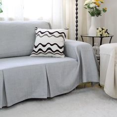 One Piece Heavy Fabric Sofa Furniture Cover Throw with Pins / Light Grey Couch Throws, Sofa Throw, Furniture Covers, Sofa Furniture, Clean Couch, Simple Sofa, Sofa Seats, Couch Covers, Large Sofa
